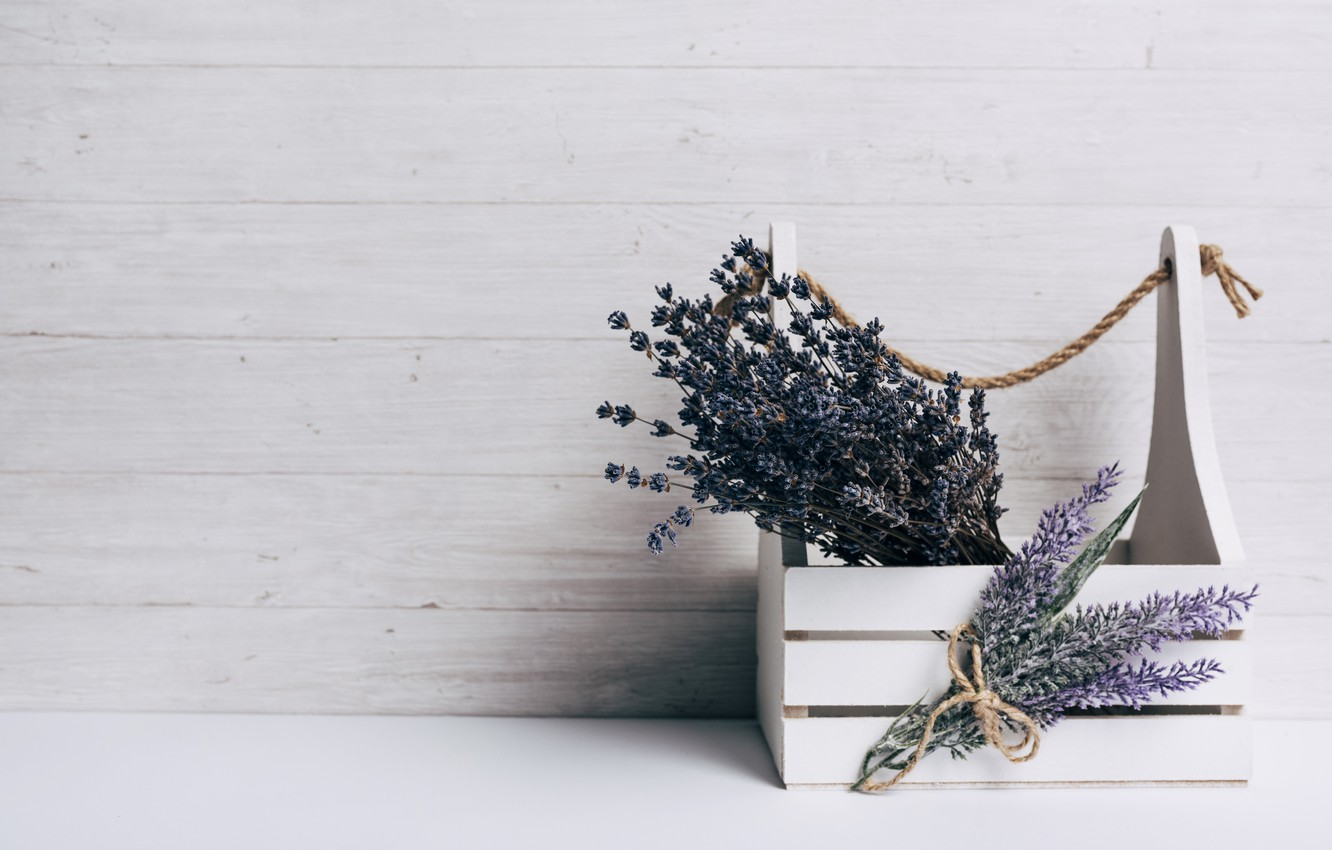Photo wallpaper wood, lavender, composition, bouquets