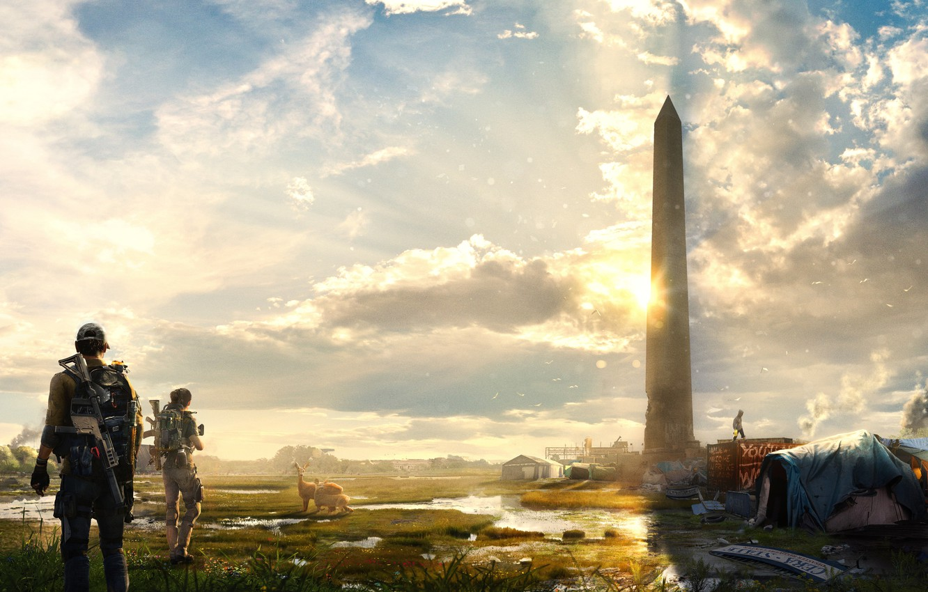 Photo wallpaper the city, art, soldiers, Washington, agents, Tom Clancy's The Division 2, The Division 2