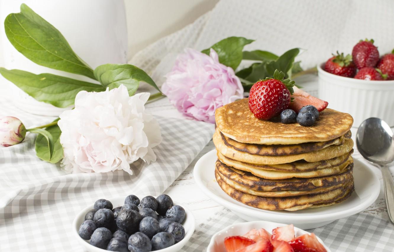 Photo wallpaper flowers, berries, Breakfast, blueberries, strawberry, pancakes, peonies, strawberry, blueberry, berries, breakfast, pancakes