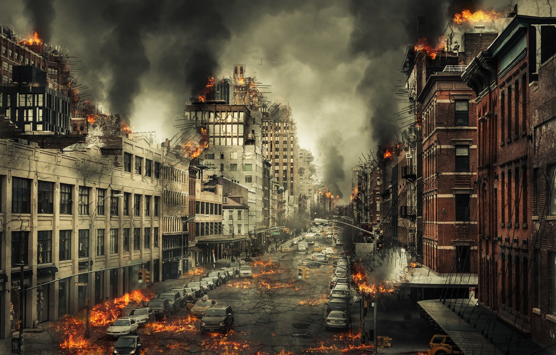 Photo wallpaper the city, flame, street, Armageddon