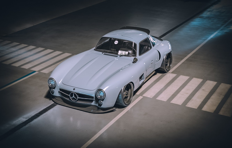 Photo wallpaper Auto, Machine, Mercedes, Car, Render, Style, Supercar, 300SL, Retro, Supercar, Sports car, Sportcar, Mercedes-Benz 300SL, …