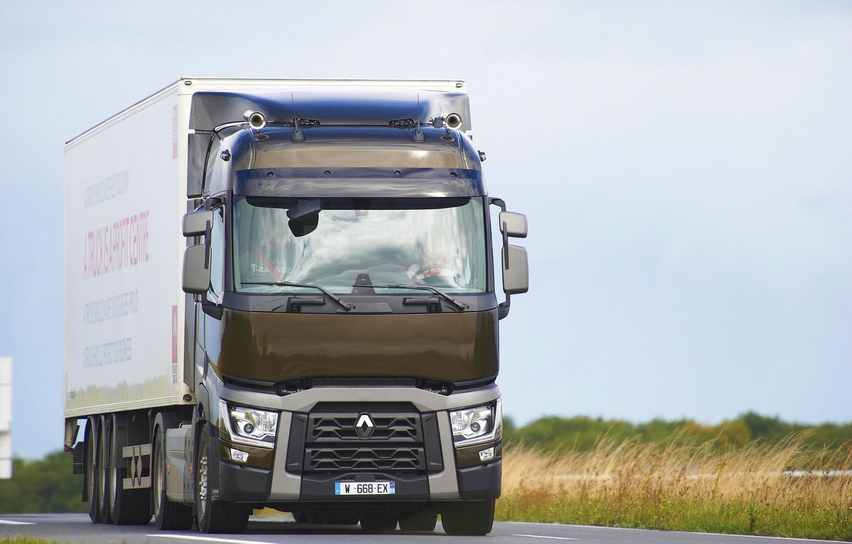 Photo wallpaper road, grass, truck, Renault, tractor, 4x2, the trailer, Renault Trucks, T-series