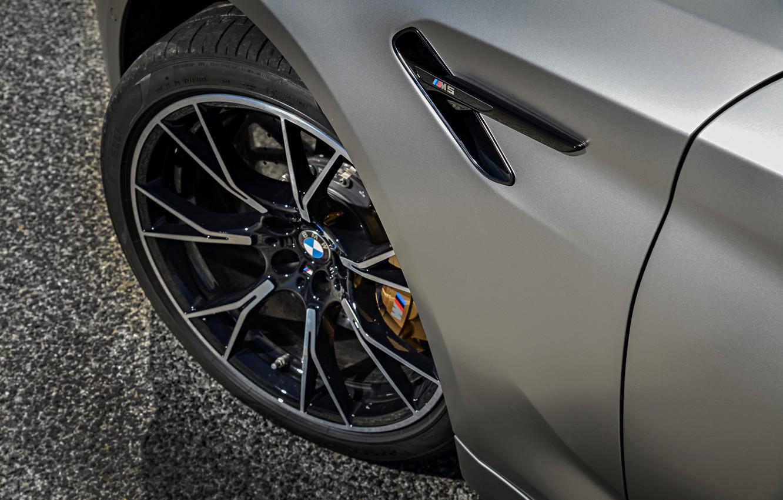 Photo wallpaper asphalt, grey, wheel, BMW, sedan, 4x4, 2018, four-door, M5, V8, F90, M5 Competition