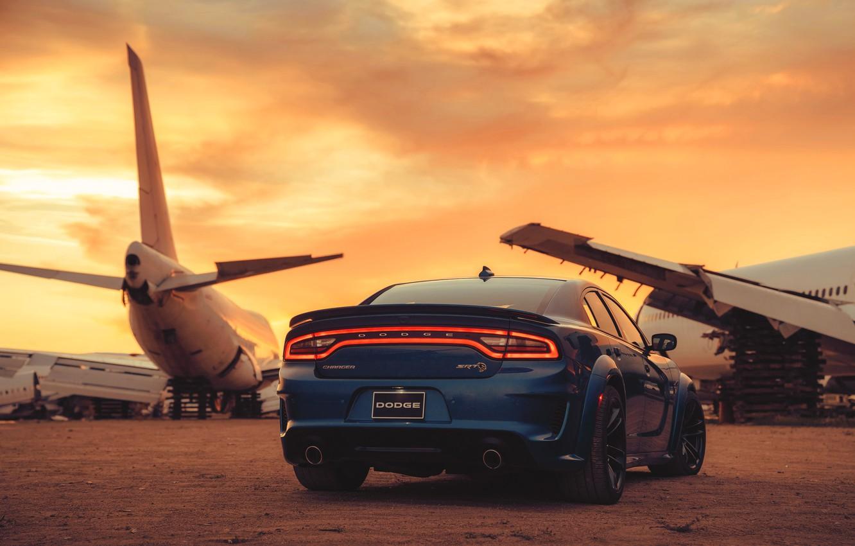 Photo wallpaper Sunset, Blue, Aircraft, Desert, Car, Muscle, Dodge charger srt hellcat widebody