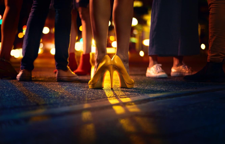 Photo wallpaper logo, shoes, heels, legs, McDonalds