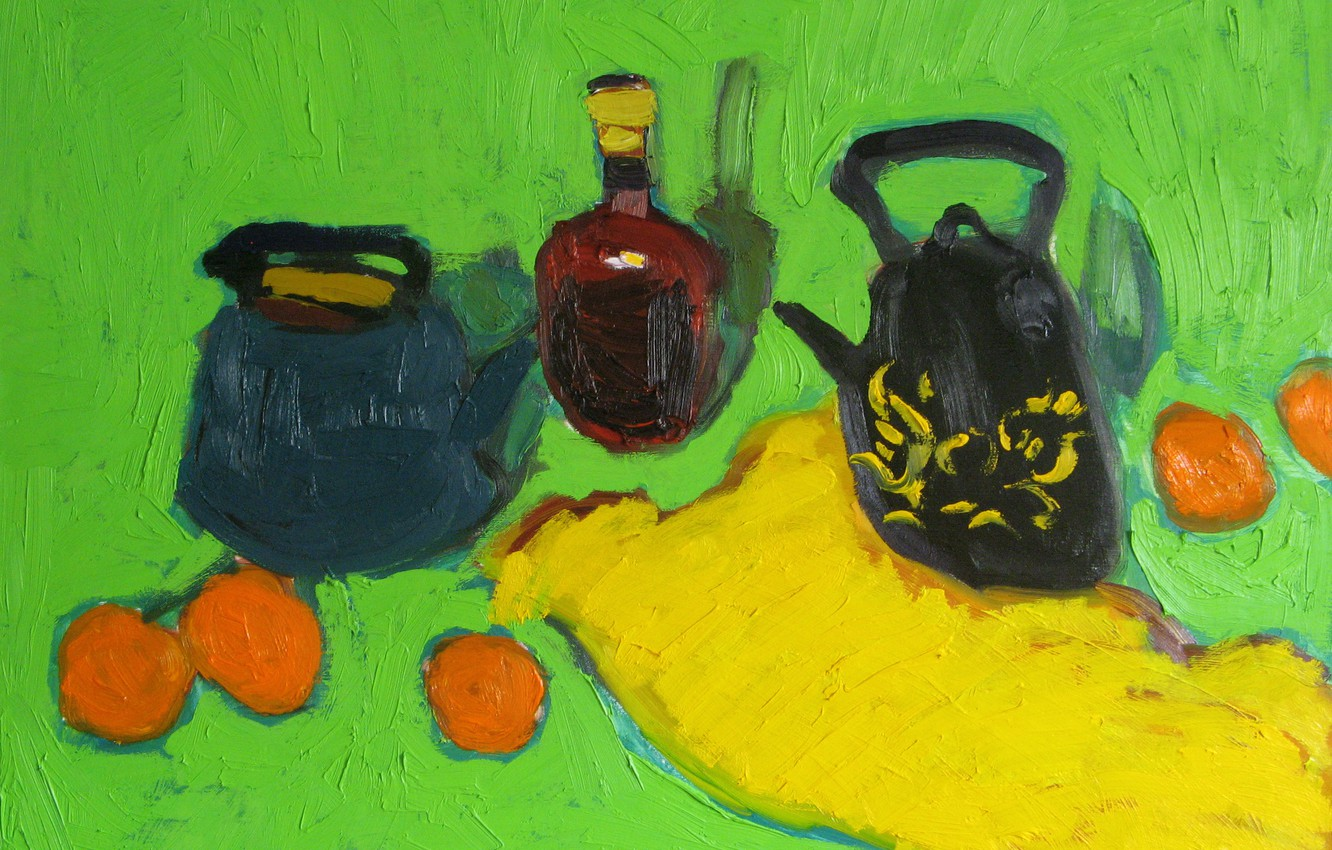 Photo wallpaper oranges, still life, green background, 2009, yellow fabric, The petyaev, a bottle of cognac, two …