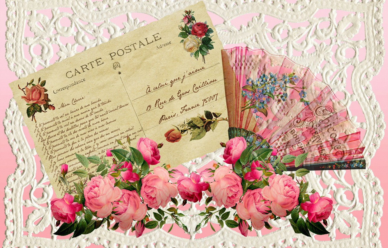 Photo wallpaper roses, Valentine's day, vintage, postcard