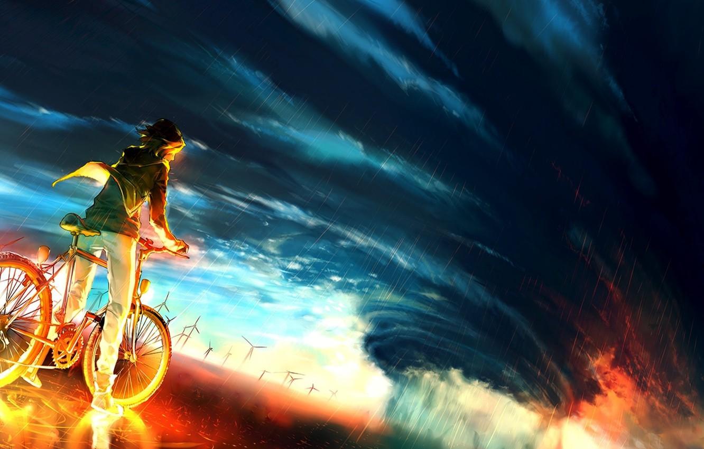 Photo wallpaper the sky, bike, background, fire, storm, anime, fire, guy, storm, anime, boy, colour, epic
