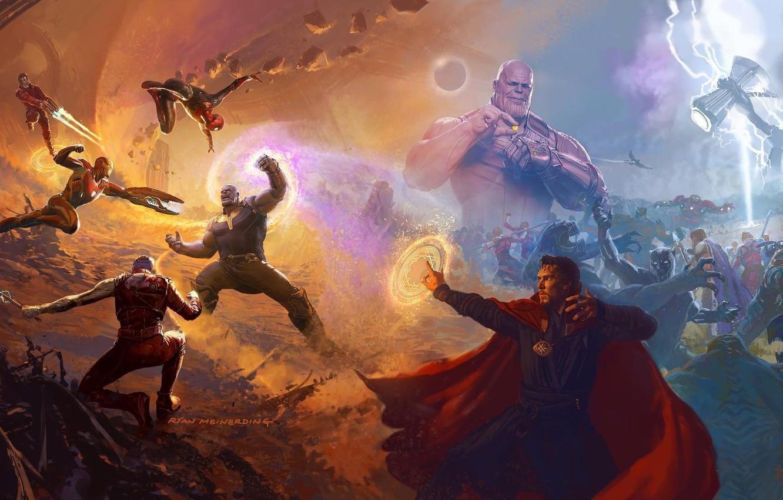 Photo wallpaper alien, lightning, Nebula, Iron Man, Marvel, Captain America, Spider-man, Thor, Titan, artbook, Black Panther, Guardian …