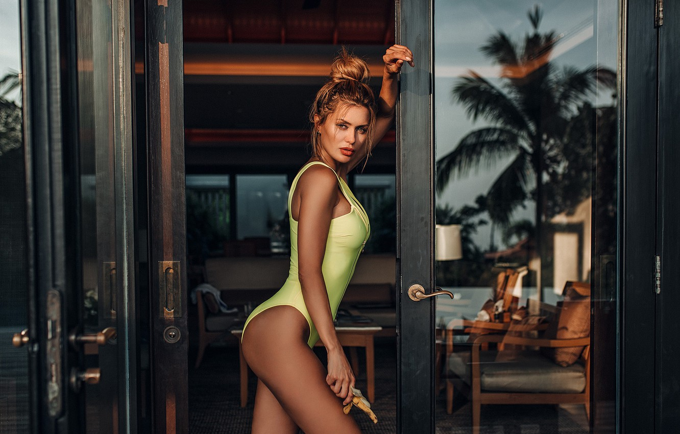 Photo wallpaper swimsuit, girl, pose, figure, the door, Evgeny Freyer, Eugene Freyer