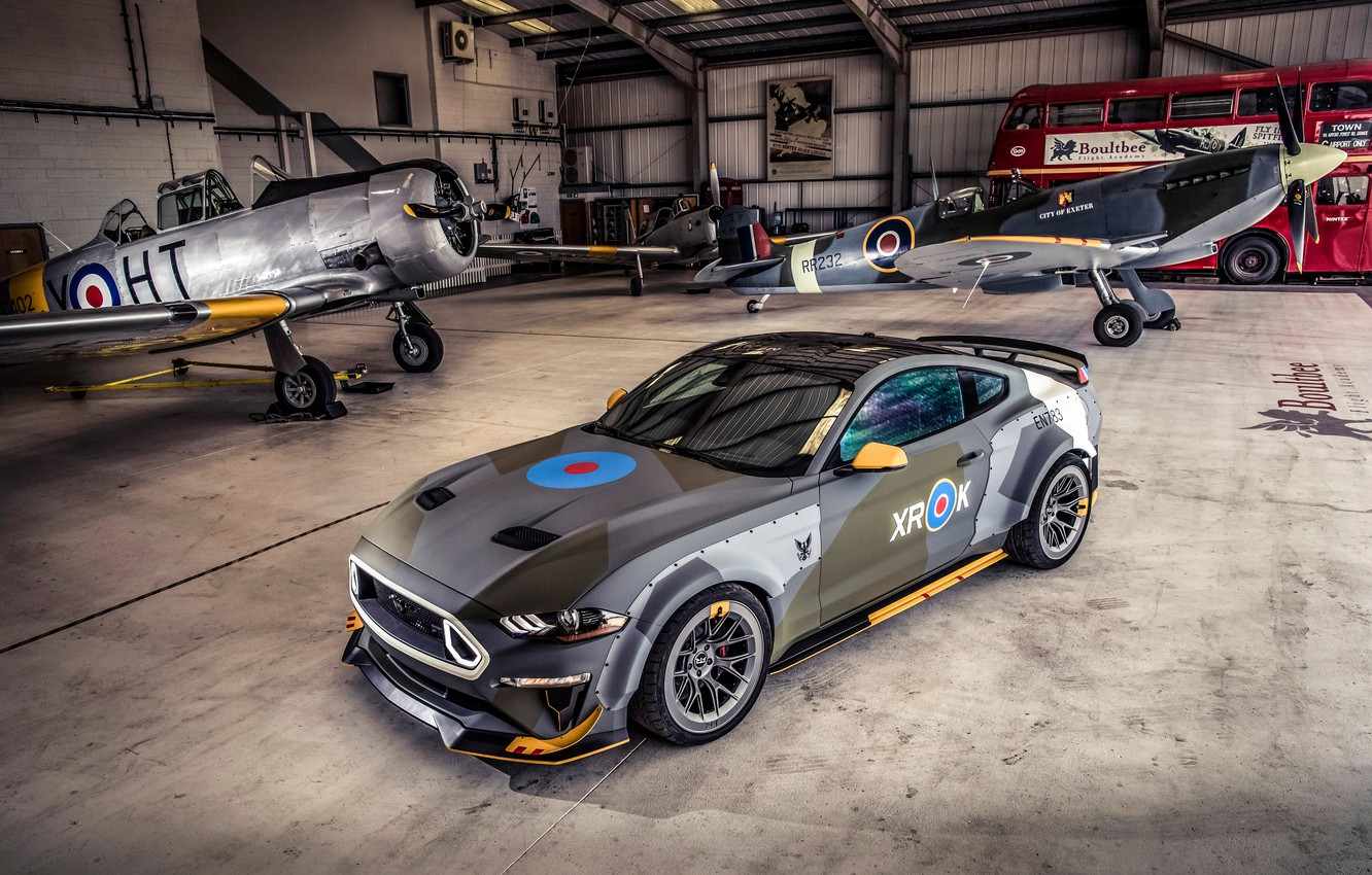 Photo wallpaper Ford, hangar, RTR, 2018, Mustang GT, Eagle Squadron