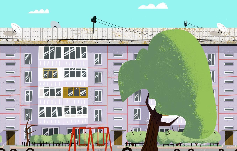 Photo wallpaper Tree, The city, House, The building, Art, Tree, Cartoon, by Andrey Syailev, Andrey Syailev, Courtyard