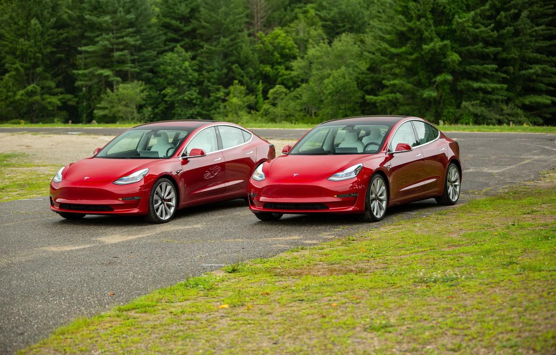Photo wallpaper Red, Futuristic Car, Electric car, Tesla Model 3