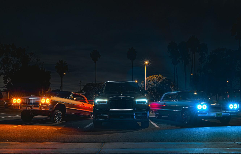 Photo wallpaper Rolls-Royce, trio, Black Badge, Cullinan