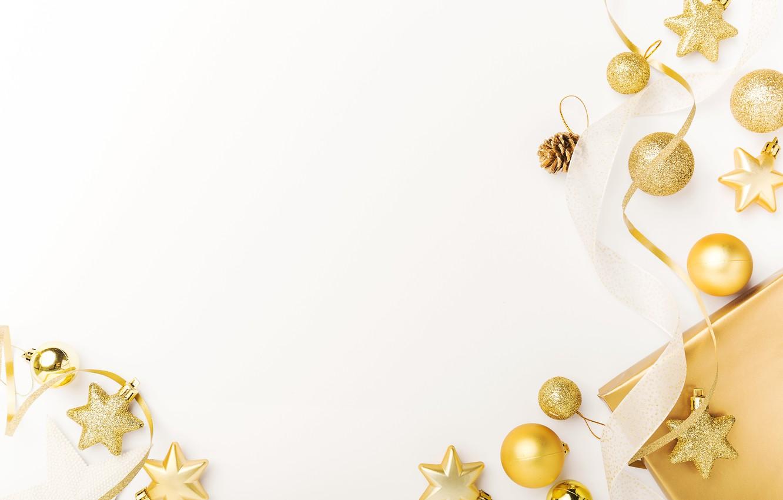 Photo wallpaper holiday, gift, toys, New year, golden, Christmas, decoration, Valeria Maksakova