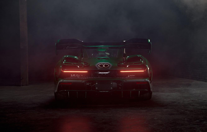 Photo wallpaper McLaren, supercar, rear view, 2018, Senna, MSO, Fux Green