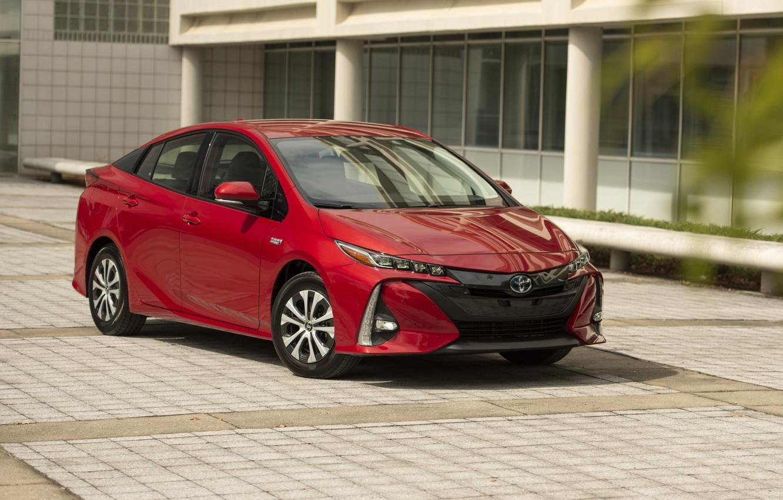 Photo wallpaper Toyota, red, Prius, Prime, 2017–19