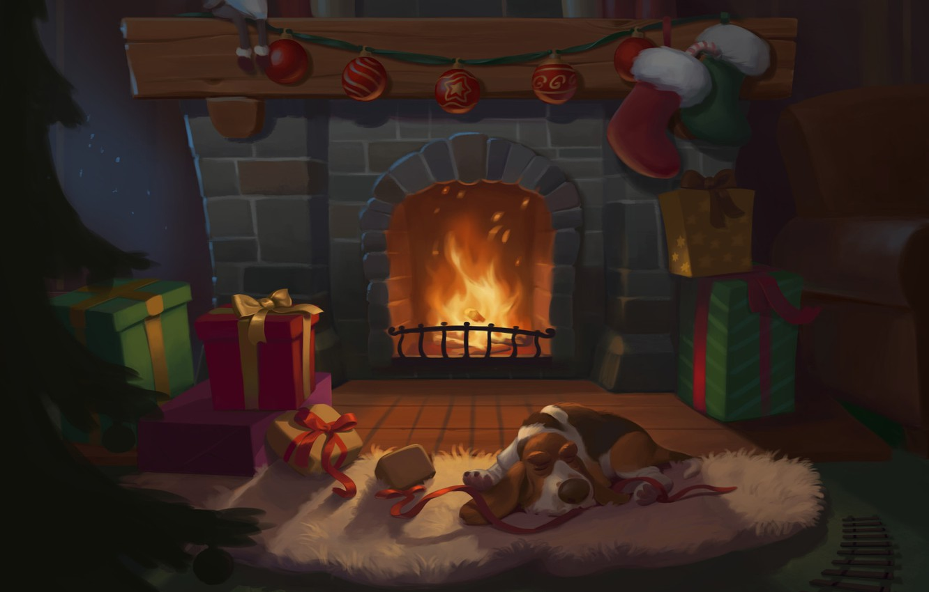 Photo wallpaper Dog, Fire, New Year, Christmas, Holiday, Happy New Year, Mood, Fireplace, Gifts, Christmas Evening, by …