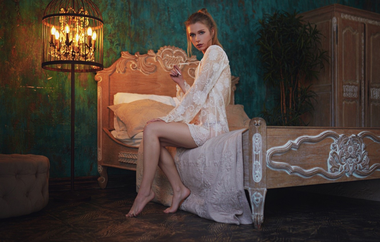 Photo wallpaper look, girl, pose, bed, negligee, floor lamp, Sergey Fat, Elizabeth Podoynikova, Sergey Zhirnov