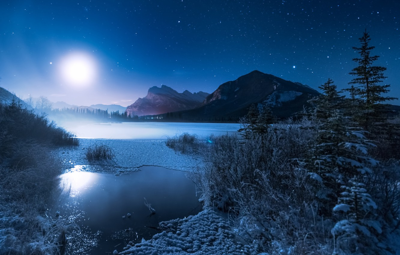 Photo wallpaper winter, mountains, night, lake, the moon, ate, frost, Canada, Albert, Banff National Park, Alberta, Canada, …