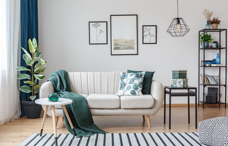 Photo wallpaper sofa, carpet, plant, interior, chandelier, pictures, fabric, frame, loft