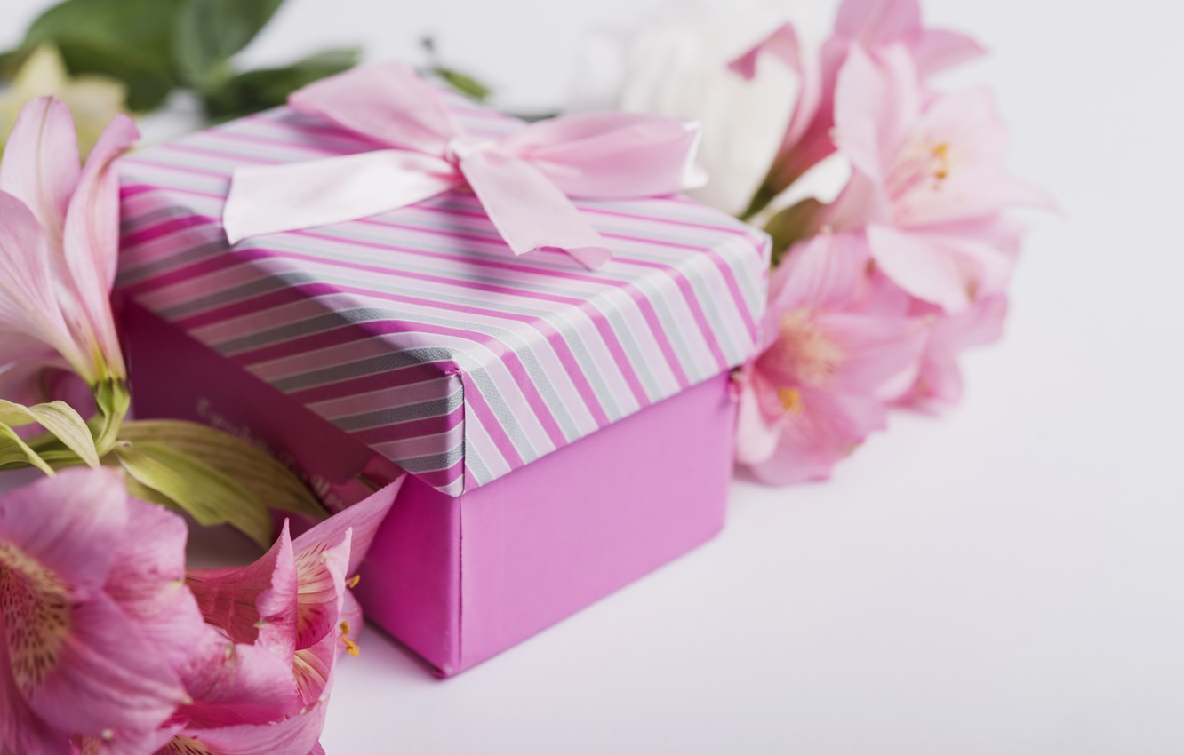 Photo wallpaper flowers, gift, Lily, tape, pink, pink, flowers, romantic, gift, lily
