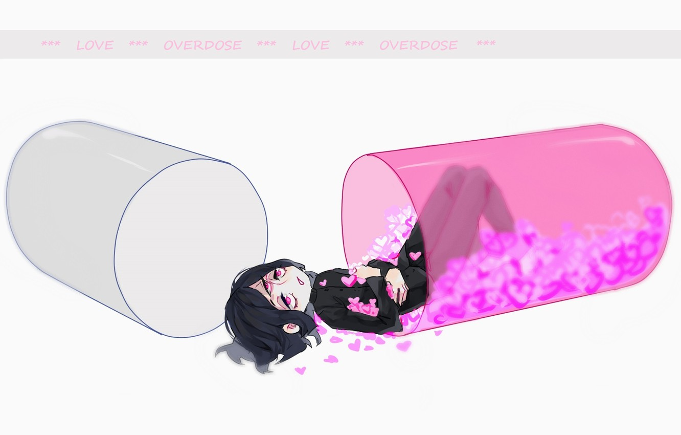 Photo wallpaper Love, capsule, hearts, white background, guy, euphoria, third eye, lying on her back, student