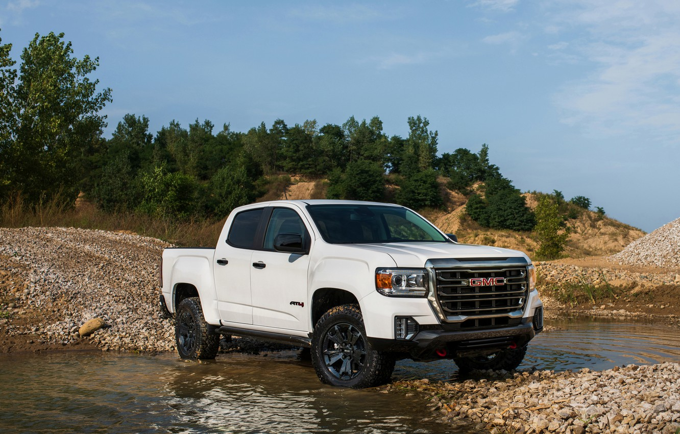 Photo wallpaper water, stones, vegetation, pickup, GMC, Crew Cab, Canyon, AT4, 2020, 2021, Off-Road Performance Edition