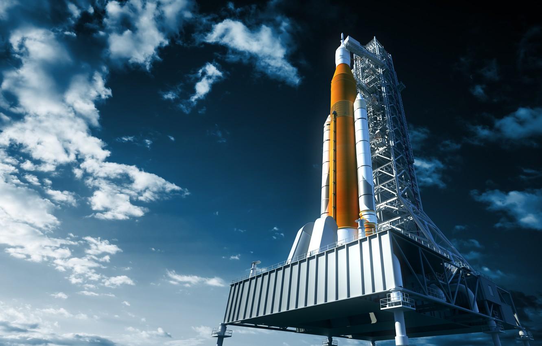 Photo wallpaper NASA, art, realism, rocket