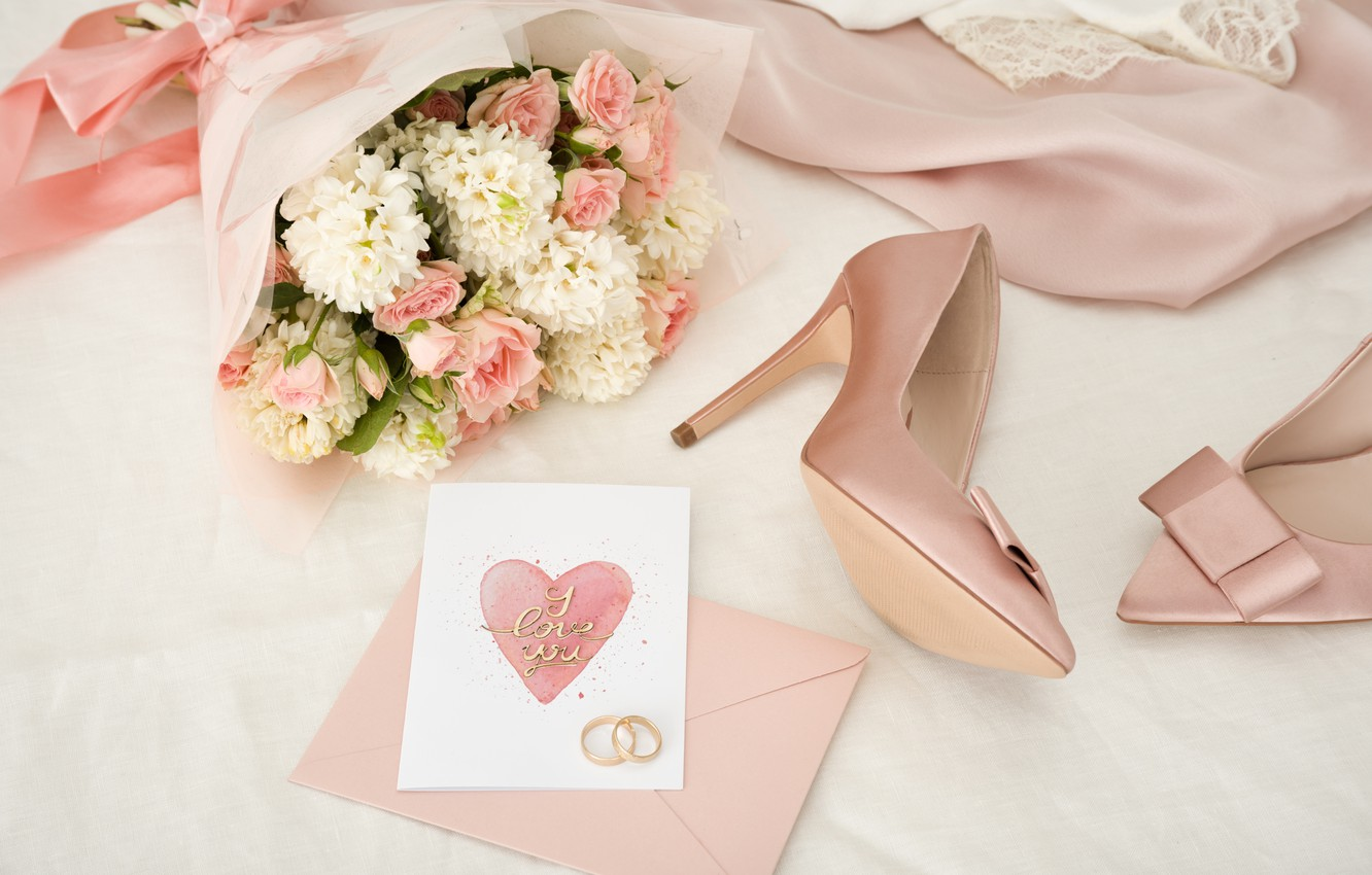 Photo wallpaper style, bouquet, Pink, dress, shoes, Rings, wedding, Romantic