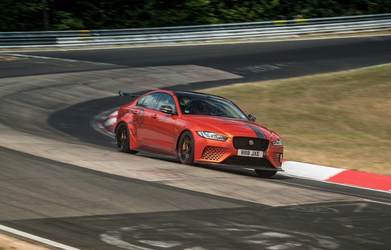 Photo wallpaper orange, Jaguar, track, 2019, XE SV Project 8