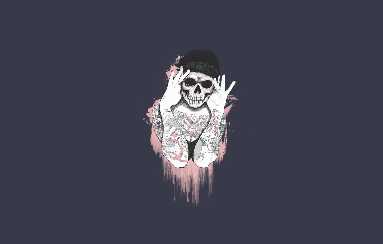 Wallpaper Girl Minimalism Skull Style Girl Background