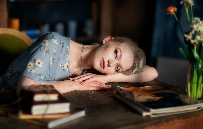 Photo wallpaper look, girl, face, mood, books, hands, magazines, Anastasia Barmina