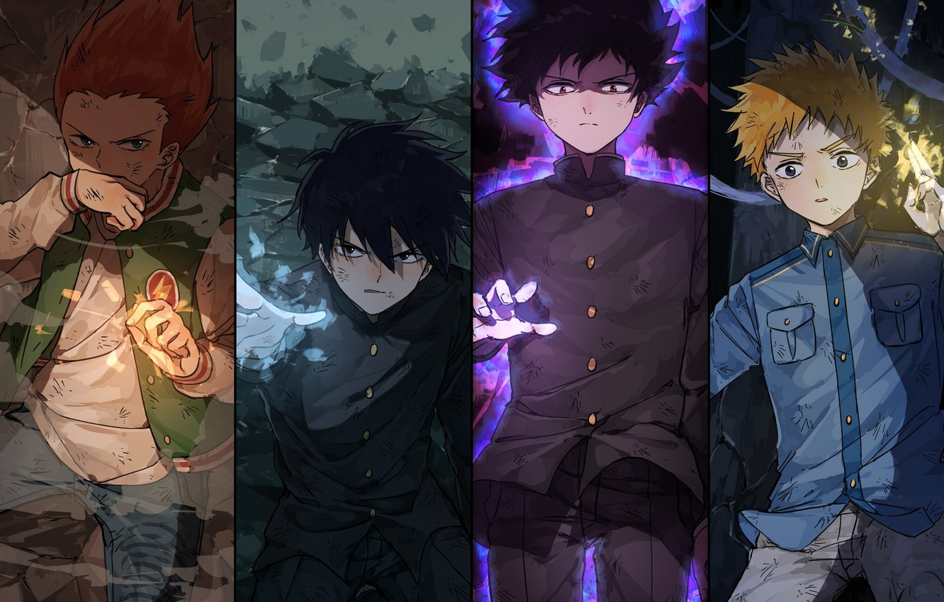 Photo wallpaper collage, guys, characters, Mob Psycho 100, Mob psycho 100