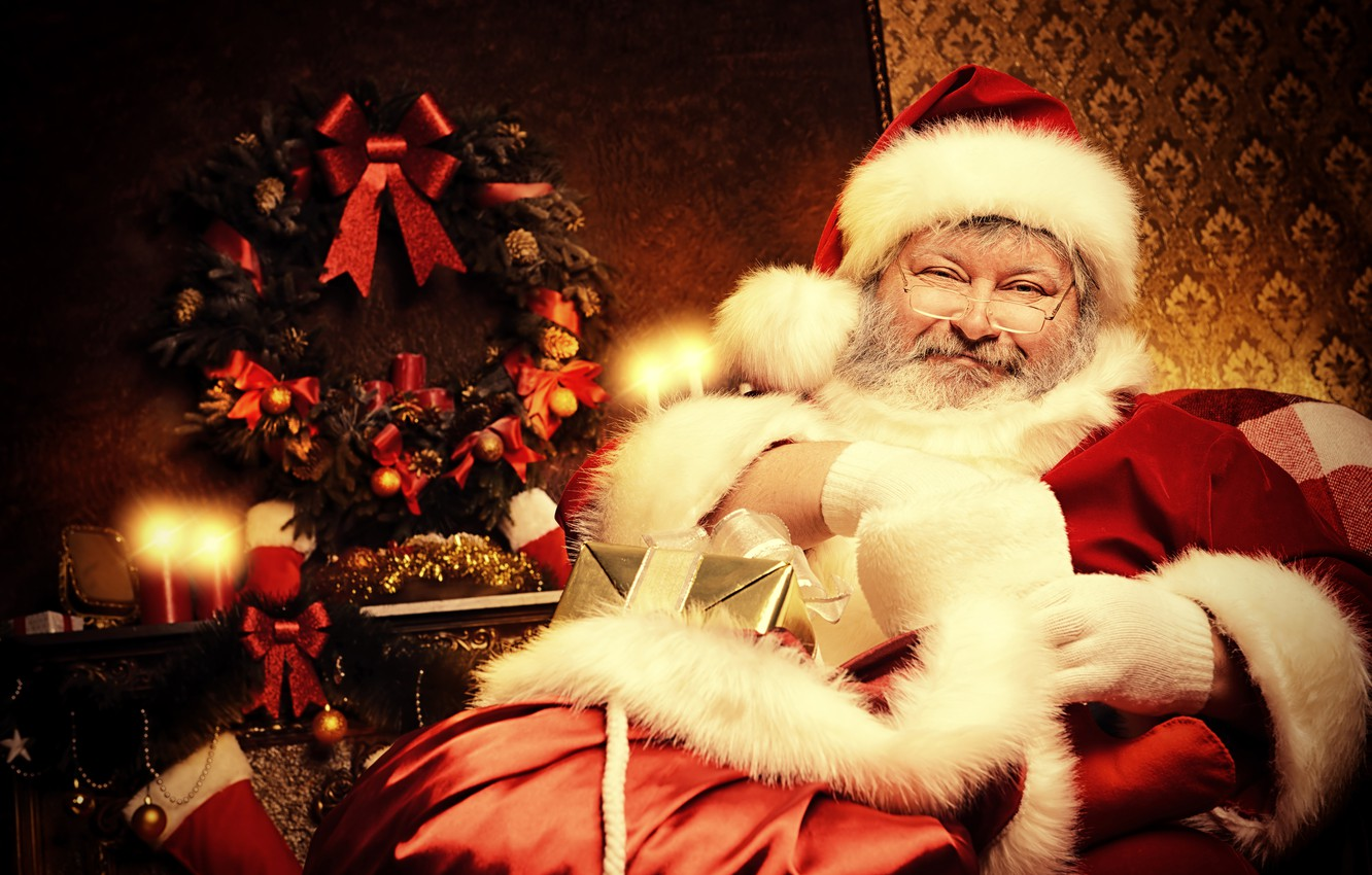 Photo wallpaper room, mood, holiday, hat, toys, chair, candles, glasses, Christmas, gifts, New year, gloves, coat, fur, …