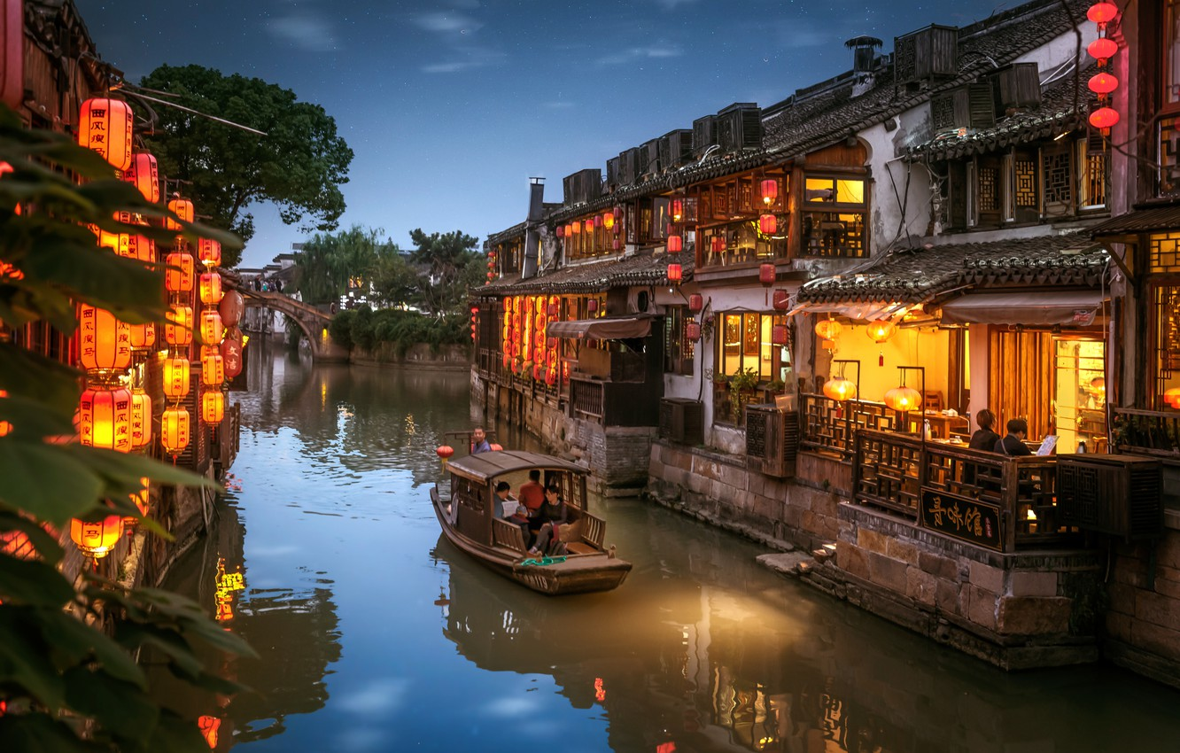 Photo wallpaper the city, boat, home, the evening, lighting, China, channel, lanterns, Hetang