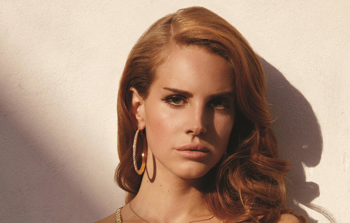 Photo wallpaper look, girl, shadow, earrings, Lana Del Rey