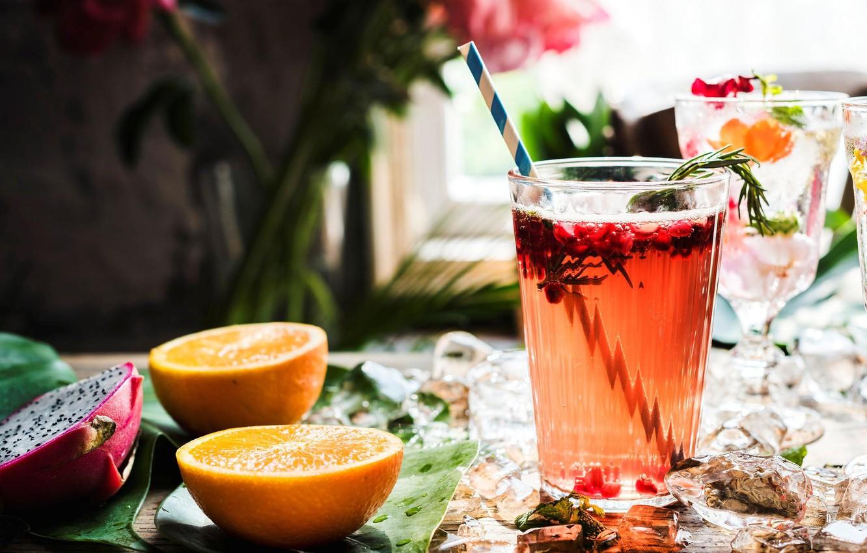 Photo wallpaper ice, glass, orange, drink, fruit dragon