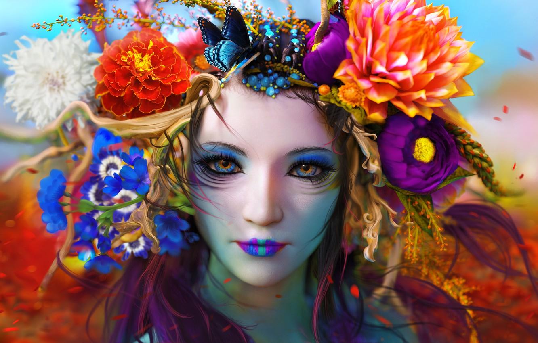 Photo wallpaper Flowers, Color, Girl, Look, Butterfly, Face, Girl, Eyes, Art, Art, Flowers, Color, Eyes, Face, Look, …