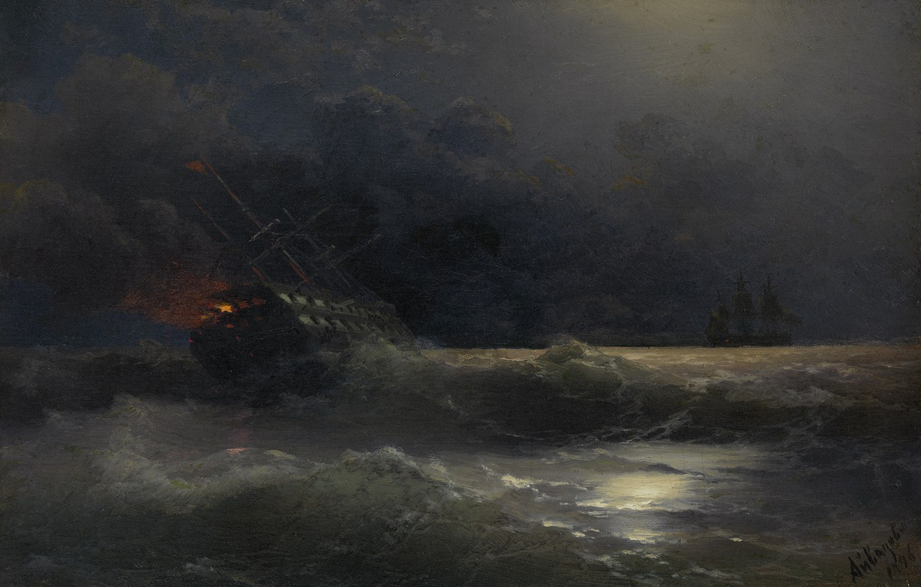 Photo wallpaper picture, seascape, Ivan Aivazovsky, Burning Ship