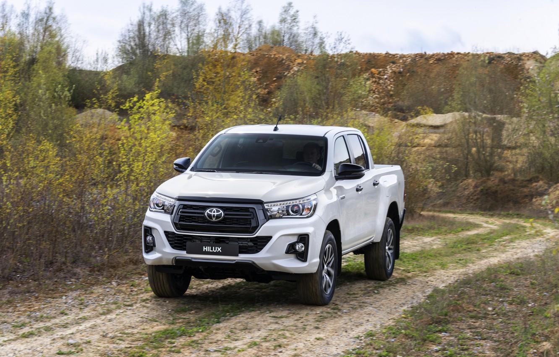 Photo wallpaper white, vegetation, Toyota, pickup, Hilux, primer, Special Edition, 2019