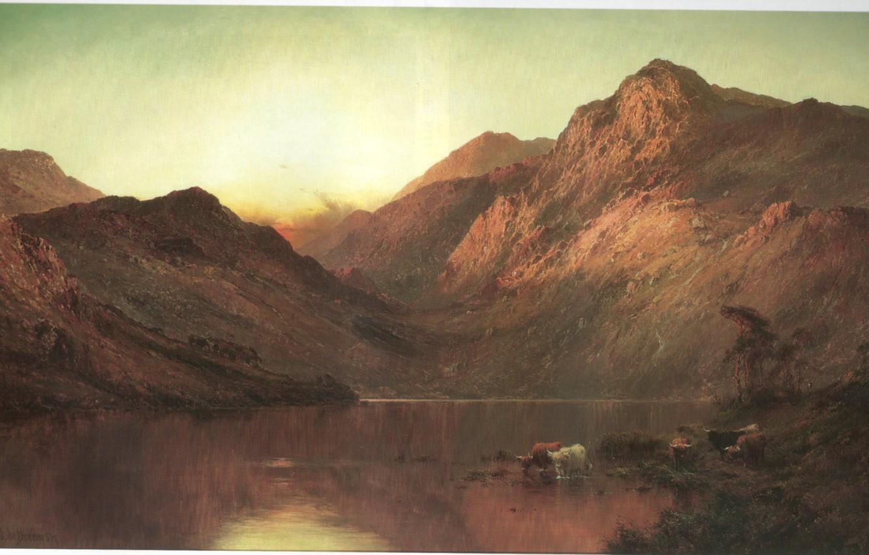 Photo wallpaper mountains, lake, BREANSKI, SUNSET ON THE LOCH, bovolato