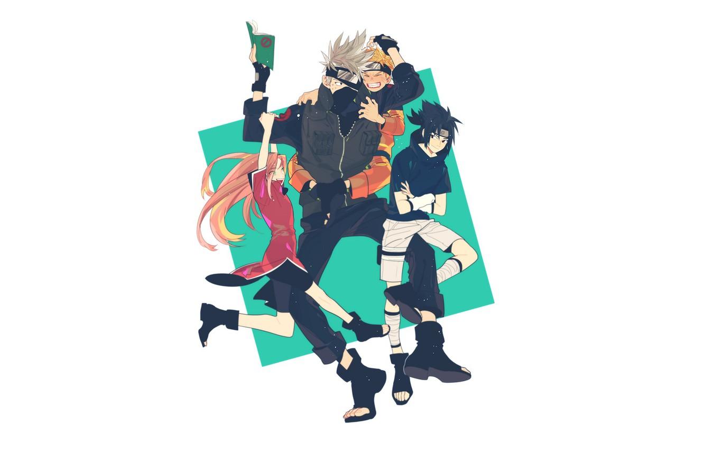 Photo wallpaper mask, book, Naruto, Naruto, team 7, Sasuke Uchiha, Naruto Uzumaki, Sakura Haruno, Kakashi Hatake