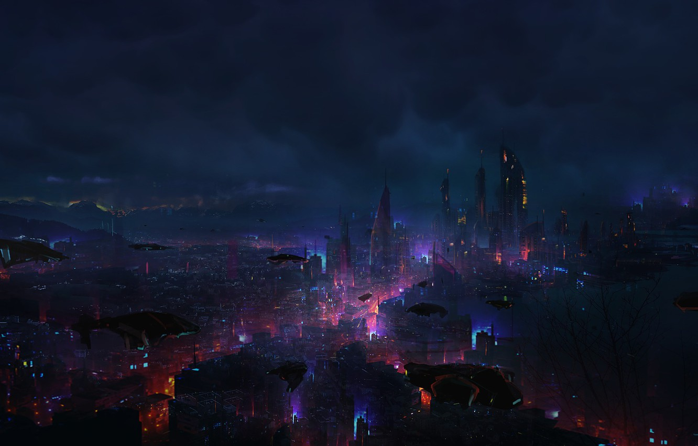 Photo wallpaper Night, The city, Future, Clouds, Skyscrapers, Machine, City, Clouds, Art, Art, Megapolis, Night, Fiction, Future, …