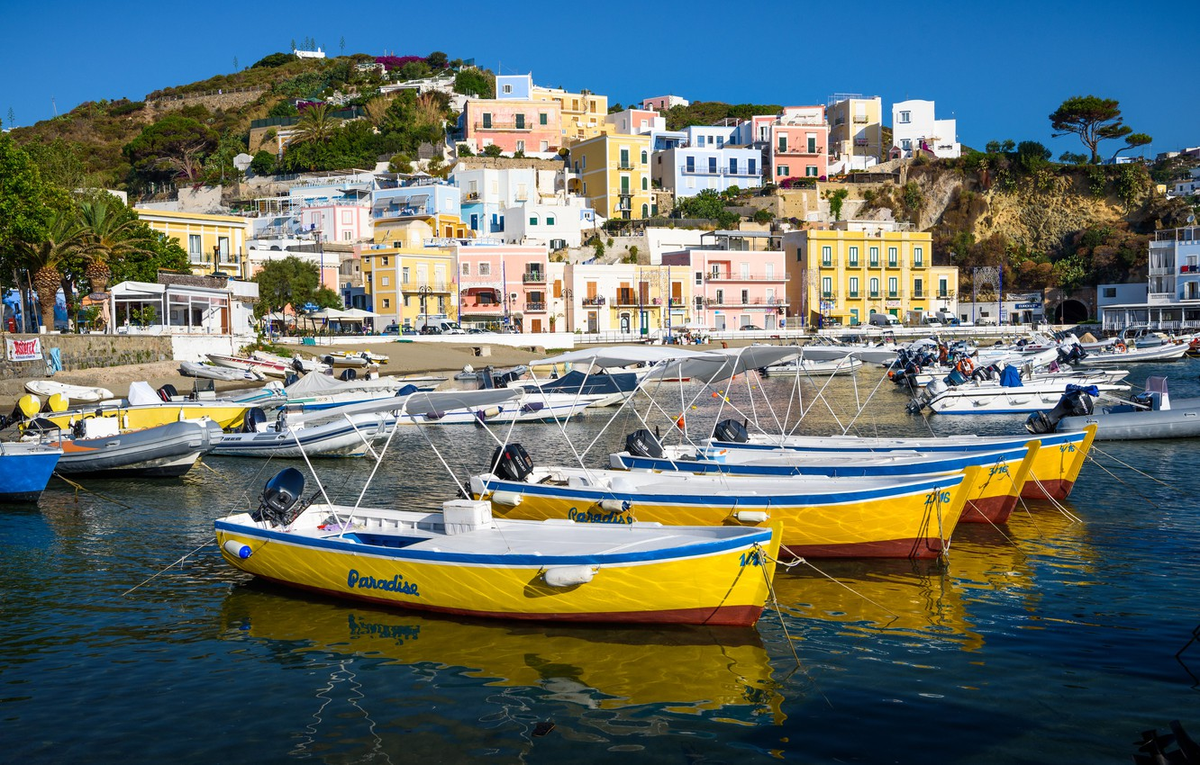 Photo wallpaper home, boats, port, Italy, Ponza