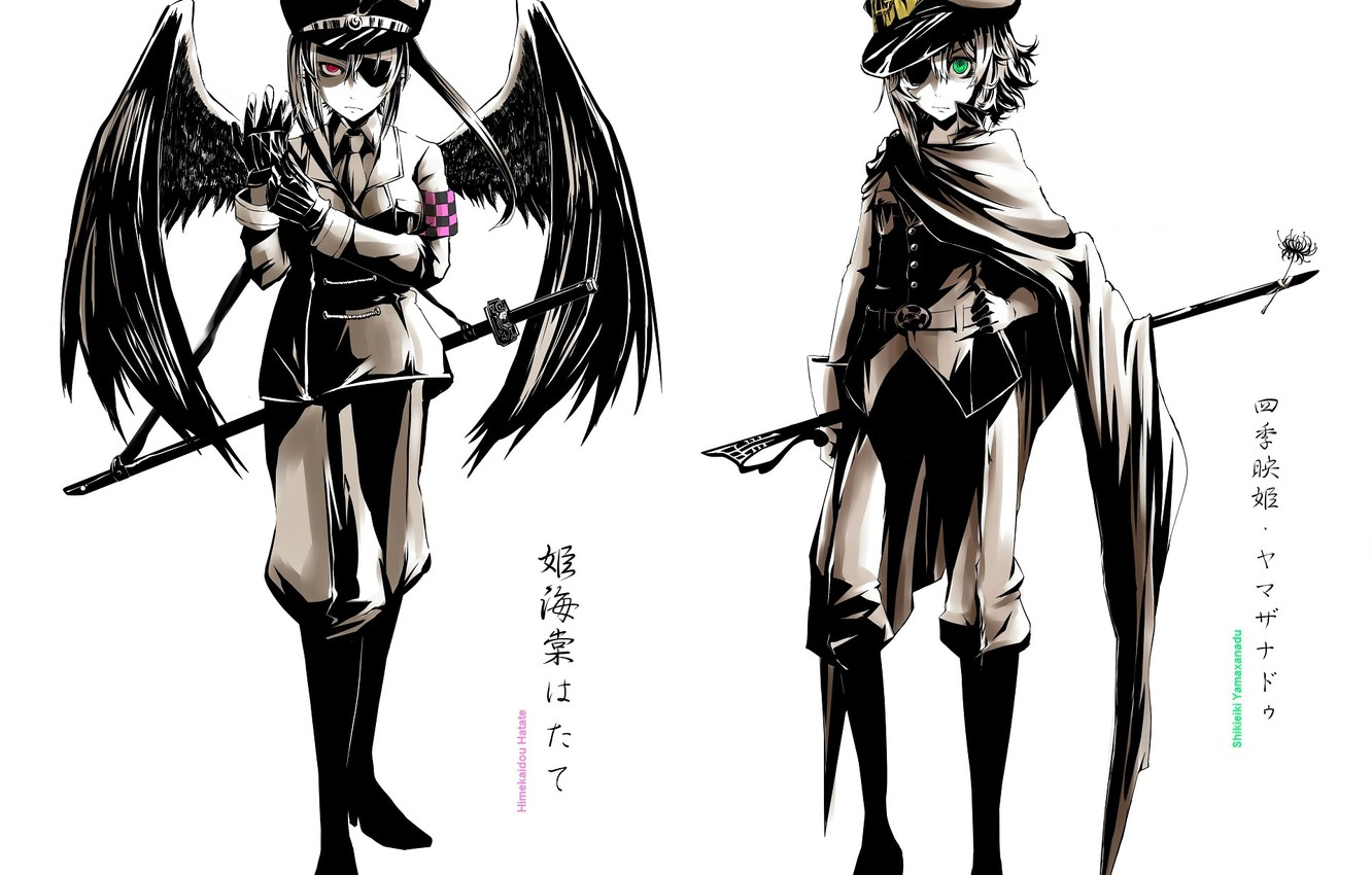 Photo wallpaper boots, gloves, cloak, cap, badge, military uniform, saber, eye patch, black wings, Touhou Project, Hatate …