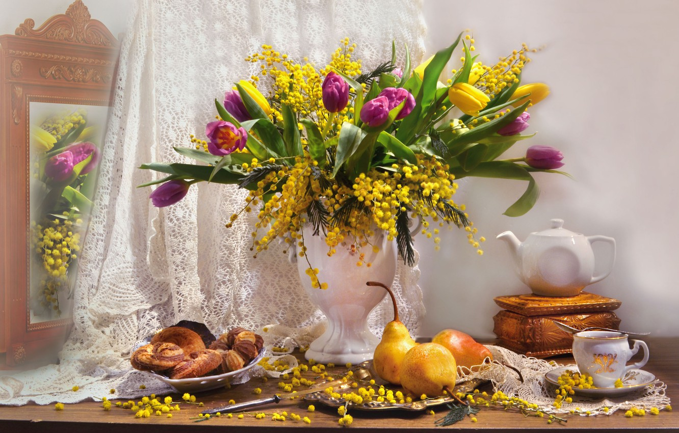 Photo wallpaper flowers, kettle, mirror, tulips, box, vase, fruit, still life, pear, curtain, cakes, Mimosa, Valentina Fencing