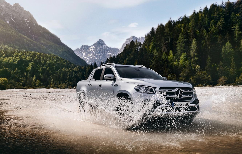 Photo wallpaper water, mountains, squirt, Mercedes-Benz, pickup, 2018, X-Class, gray-silver