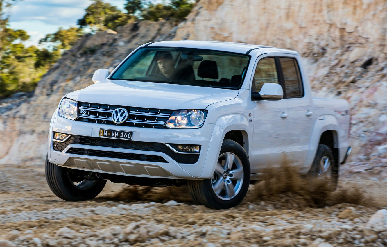 Photo wallpaper white, Volkswagen, pickup, Amarok, 2017, Sportline