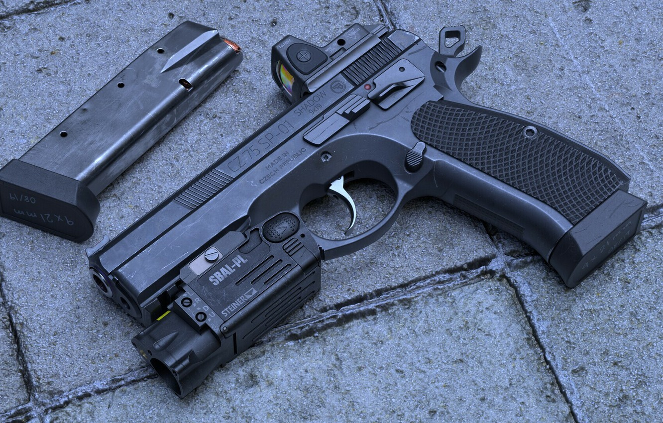 Photo wallpaper gun, weapons, pistol, weapon, cz 75, cz 75 sp-01 Shadow, FS 75 SP-01 Shadow